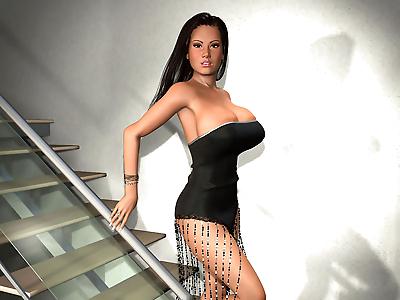 Sexy 3d brunette shows big..