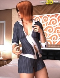 Redheaded secretary gets naked for boss in hotel - part 523